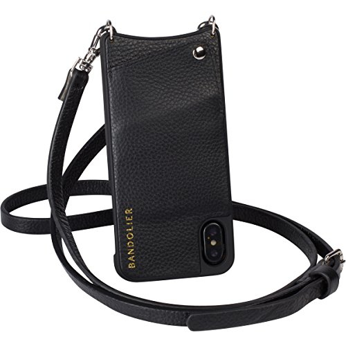 Bandolier Cell Phone Case Compatible w/iPhone X/XS - Black Leather Wallet