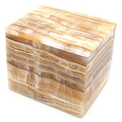 Flowing Amber Stone Square Jewelry Box, 5""