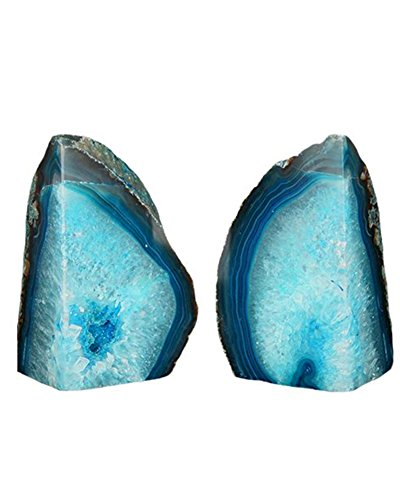 Amoystone Agate Bookends Pair Dyed Teal Pair 6-8 lbs for Books