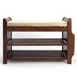 Bocca Shoe Rack Bench, Bamboo Removable Cushion
