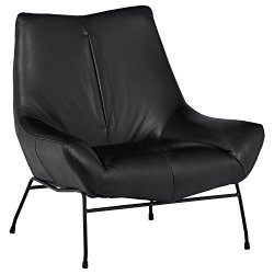 Rivet Villain Oversized Leather Metal Leg Accent Chair