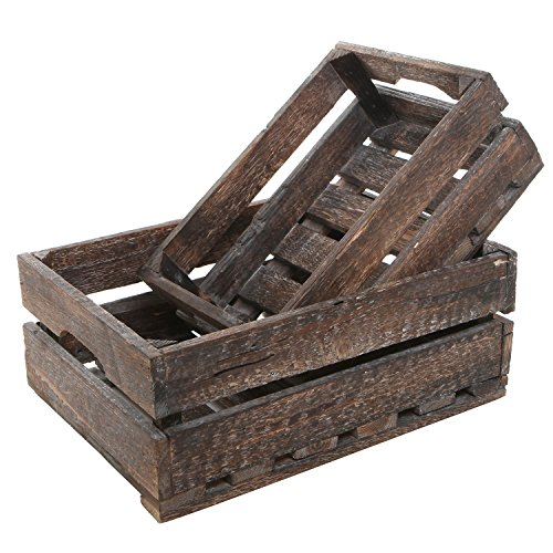 MyGift Set of 2 Country Rustic Finish Wood Storage Crate