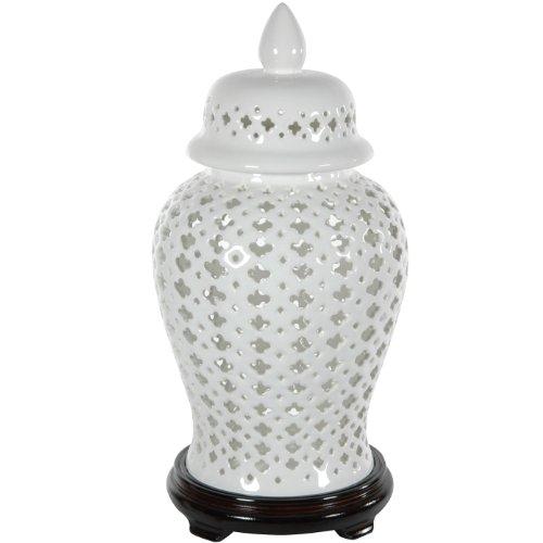 """Oriental Furniture 16"""" Carved Lattice Decorative Temple Jar"""
