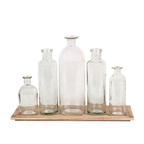 Creative Co-Op Set of 5 Vintage Bottle Vases on Wood Tray