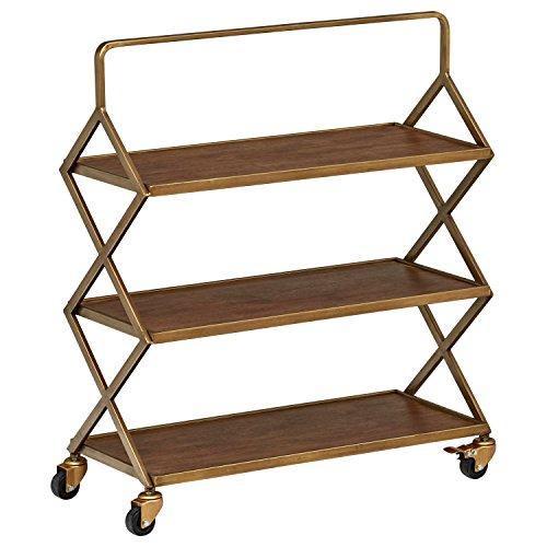 Rivet 3-Tiered Metallic Intersecting Rolling Cart