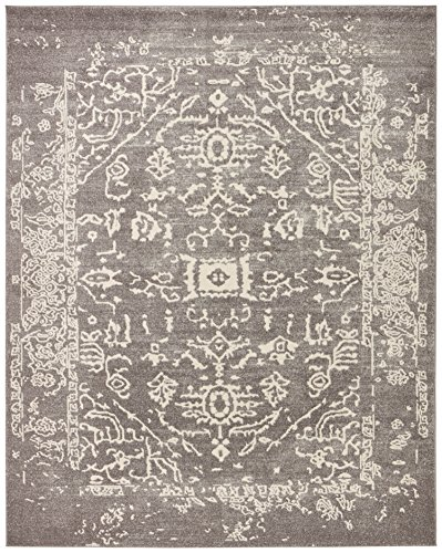 Rivet Charcoal Distressed Medallion Rug, 5' x 7'