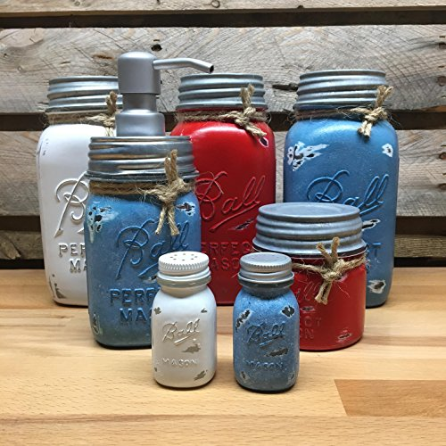 White, Red, and Blue Mason Jar Canister Set