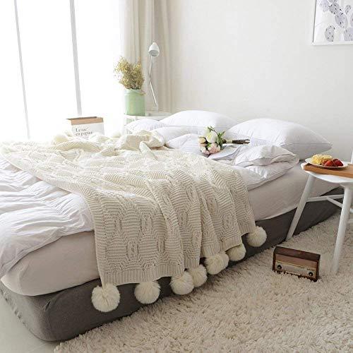 DOUH Pom Pom Knit Throw Blanket 100% Cotton