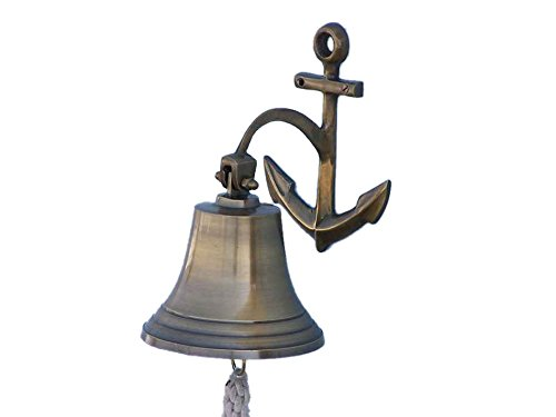 "Antique Brass Hanging Anchor Bell 10""- Brass Bell"