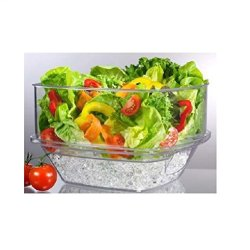 "Prodyne SB-10 Flip Salad On Ice Bowl with Lid Set, 10"", Clear"