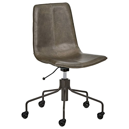Rivet Industrial Slope Top-Grain Leather Swivel Office Chair