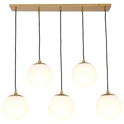 Rivet Eclipse 5-Globe Brass Pendant Chandelier