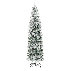 Best Choice Products 7.5ft Snow Flocked Artificial Pencil Christmas