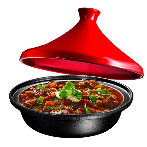 Cast Iron Moroccan Tagine Pot, Enameled Fire Red, 4 Quart