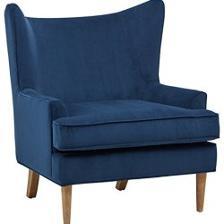 Rivet Chelsea Velvet Wing-Back Accent Chair, Navy