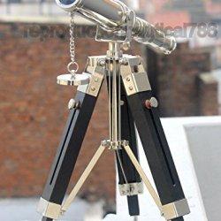 Humaira Nauticals Vintage Brass Silver Desk Telescope