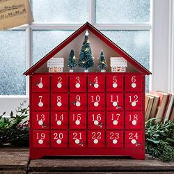Lights4fun, Inc. Pre Lit Red Wooden Christmas