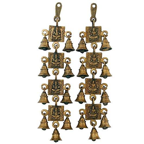 AONE India Brass Ganesha and Laxmi Bell Hanging Pair