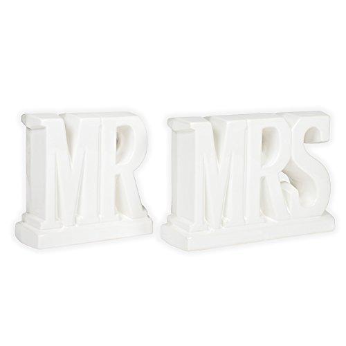 Mr and Mrs White Ceramic Decorative Bookends
