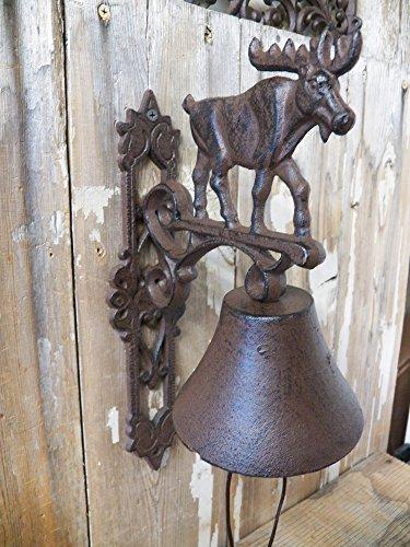 Moose Motif Dinner Bell Antique-Style Cast Iron Deck
