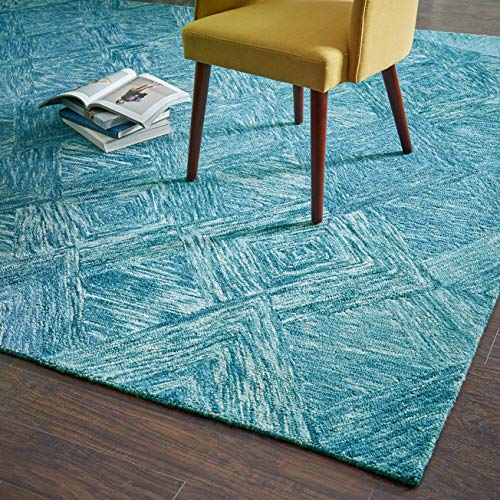 "Rivet Motion Patterned Wool Area Rug, 8' x 10'6"", Marine Blue"