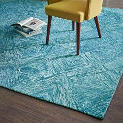 "Rivet Motion Patterned Wool Area Rug, 8' x 10'6"", Marine Blue"