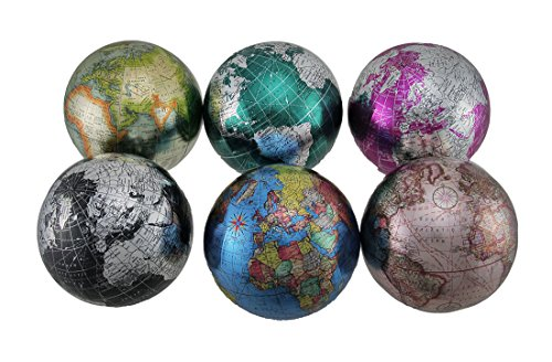Zeckos Set of 6 Colorful Metallic World Globe Decorative Balls 4 inch