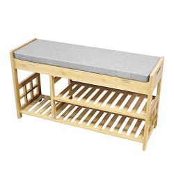 Clevr Natural Bamboo Shoe Storage Rack Bench
