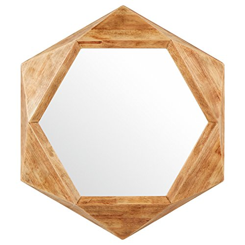 Rivet Modern Hexagon Wood Frame Mirror