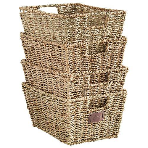 VonHaus Set of 4 Seagrass Storage Baskets with Insert Handles