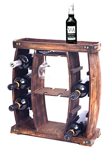 Vintiquewise Rustic Wooden Rack with Glass Holder