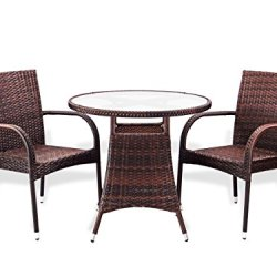 3 Pc Patio Resin Outdoor Wicker Dining Set Round Table