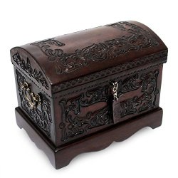 NOVICA Colonial Wood and Tooled Leather Jewelry Box