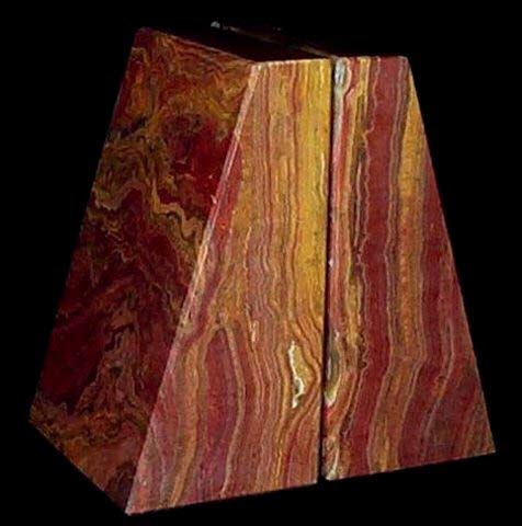 Khan Imports Decorative Red Onyx Stone Bookends