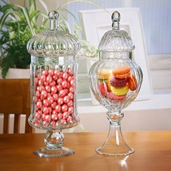 MyGift Set of 2 Clear Glass Ribbed Apothecary Jars