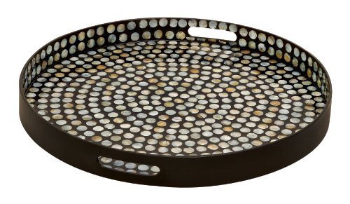 Deco Chromatic Wood Lacquer Shell Tray- Trays
