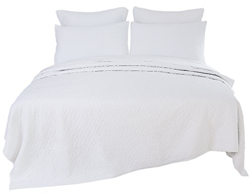 PHF Stone Washed Quilt Coverlet Set 100% Microfiber