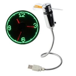 New Portable Flexible USB LED Clock Fans Cooler