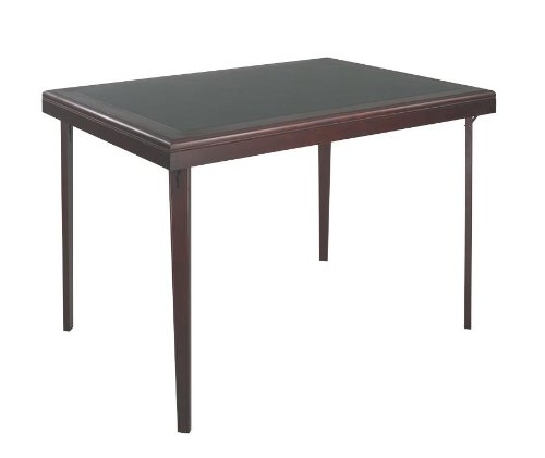 Wood Folding Table with Vinyl Inset in Black and Mahogany