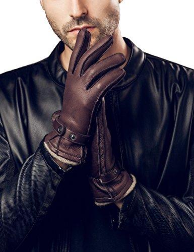 YISEVEN Men's Cashmere Lined Deerskin Leather Gloves