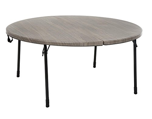 COSCO 48 in. Round Fold in Half Table, Light Gray Wood