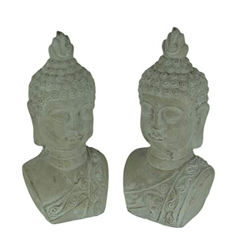 Three Hands Corp. Set of 2 Grey Stone Finish Cement Buddha