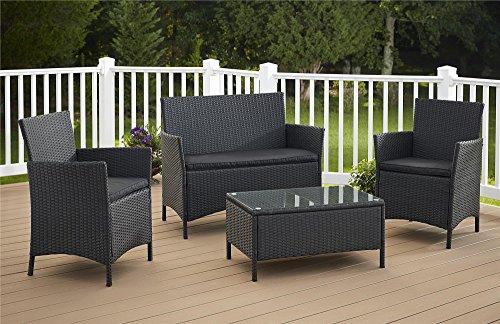Cosco Outdoor Conversation Set, 4 Piece, Black Wicker