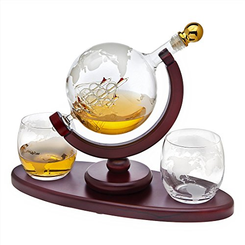 Whiskey Decanter Globe Set with 2 Etched Globe Whisky