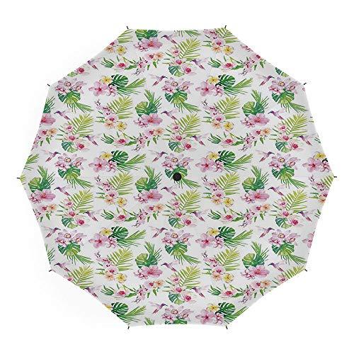 Folding Umbrella,Luau,Auto Open Close Umbrella 45 Inch