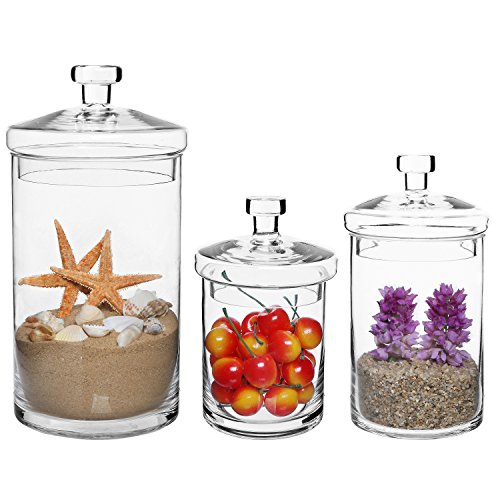 MyGift Set of 3 Clear Glass Kitchen & Bath Storage Canisters
