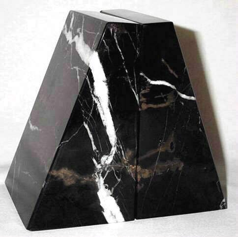 Khan Imports Large Black and Brown Marble Bookends