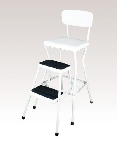 COSCO WHTE White Retro Counter Chair/Step Stool