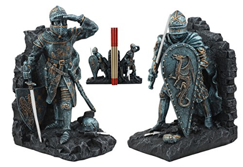 Ebros Medieval Dragon Heraldry Knight Bookends Statue