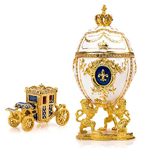 """Unique Decorative White Faberge Egg: Extra Large 6.6"""""""